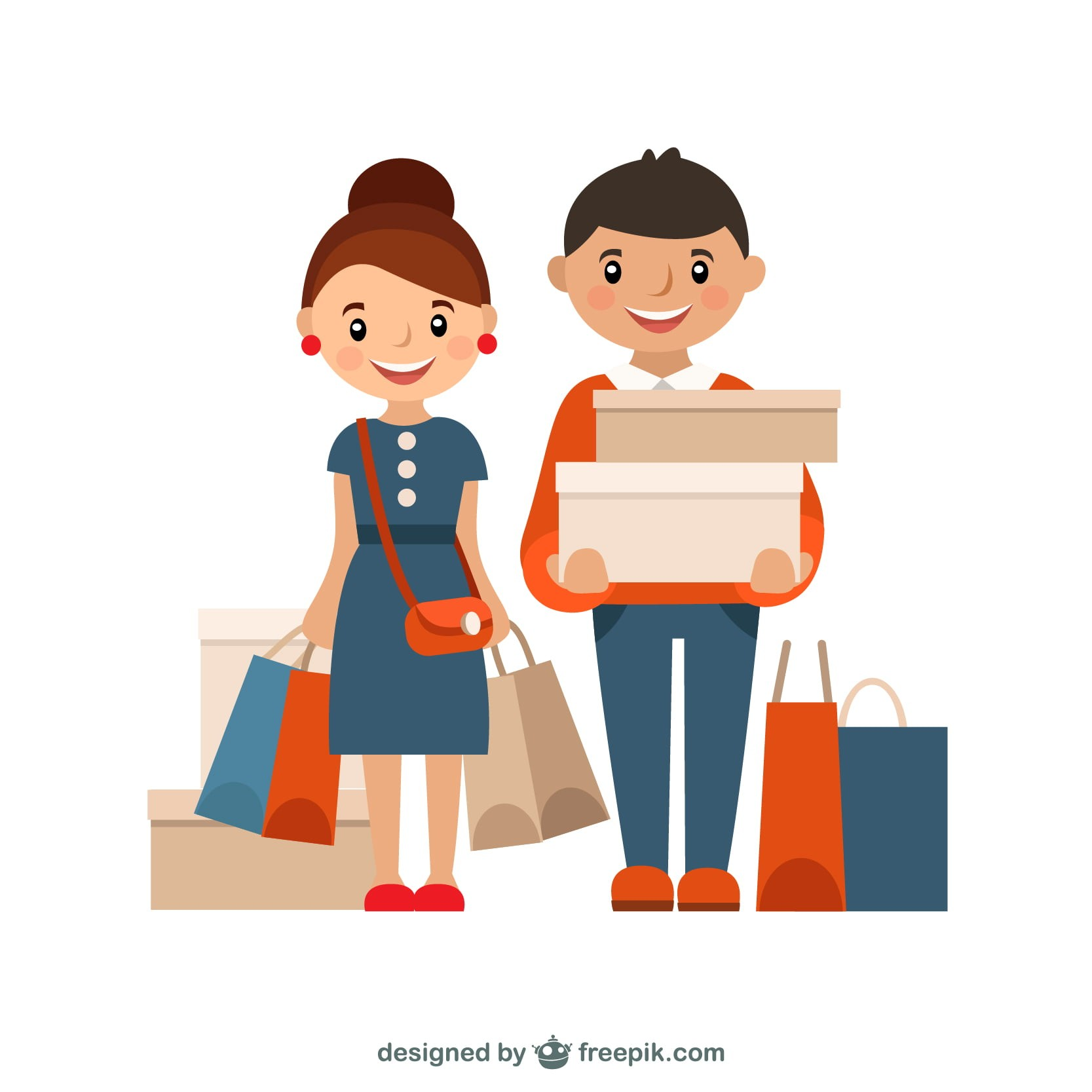 vector drawing 1 male and 1 female shopping