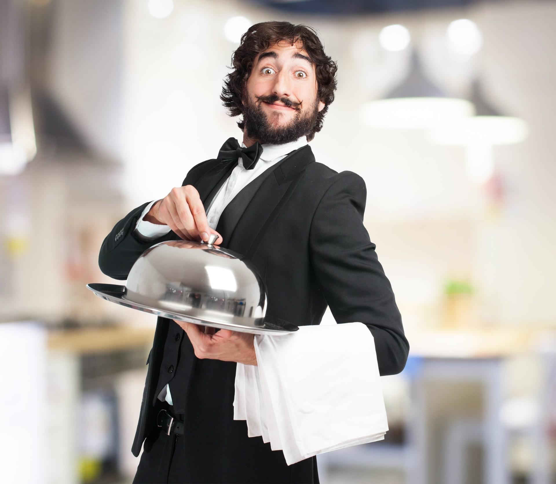 male waiter prepare to serve