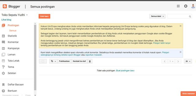 Halaman Admin Blogger