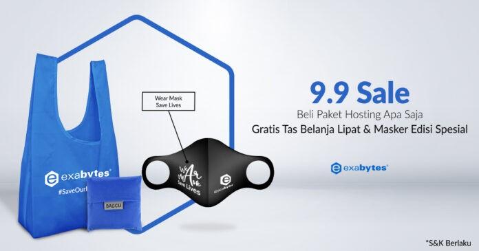 9.9 sale, beli hosting dapat masker dan tas