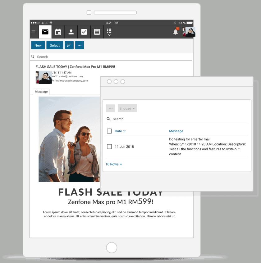 email hosting tablet